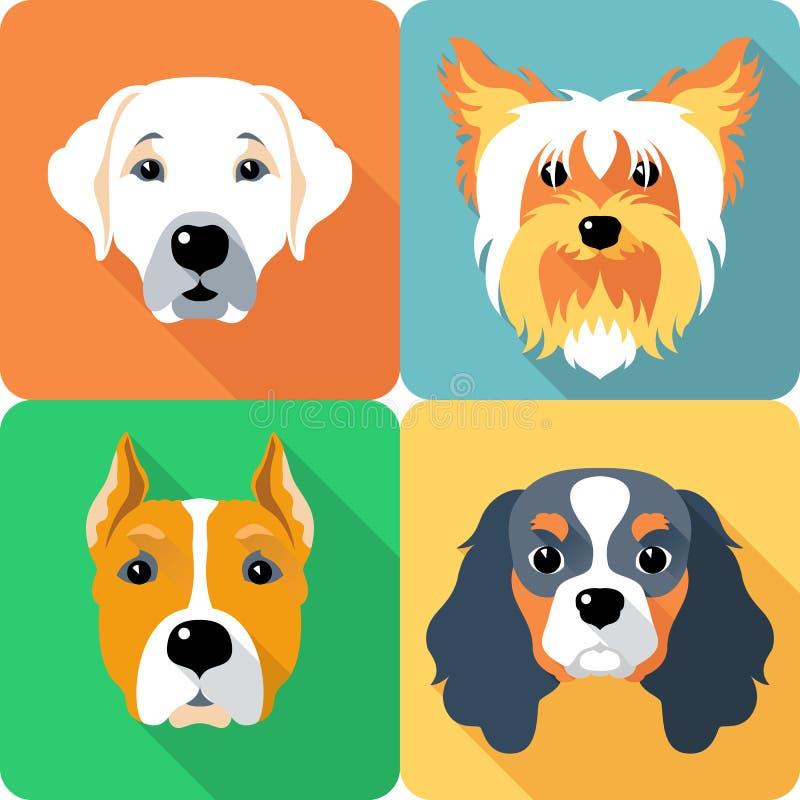 Het vastgestelde vlakke ontwerp van het hondenpictogram stock illustratie