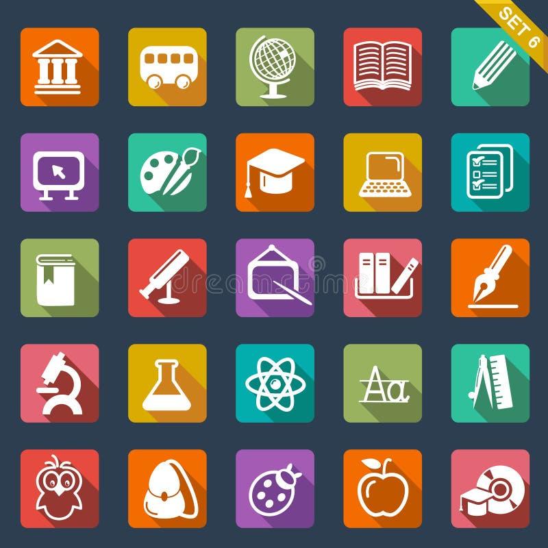 Het vastgestelde vlakke ontwerp van het onderwijspictogram stock illustratie