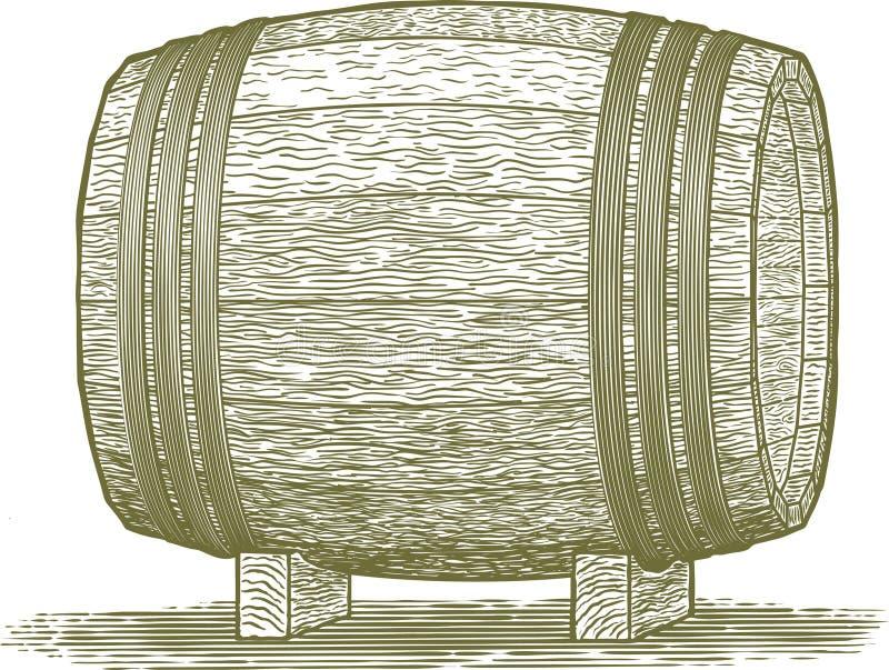 Het Vat van de houtdrukwhisky royalty-vrije illustratie