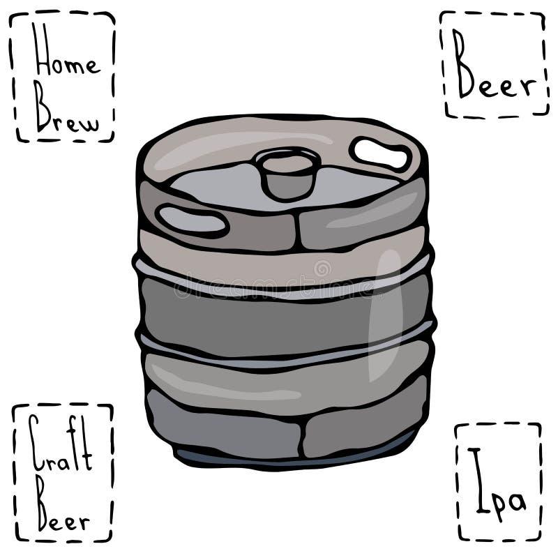 Het Vat van het biermetaal De Schets van de de Krabbelstijl van het biervaatje Hand getrokken vectorillustratie vector illustratie