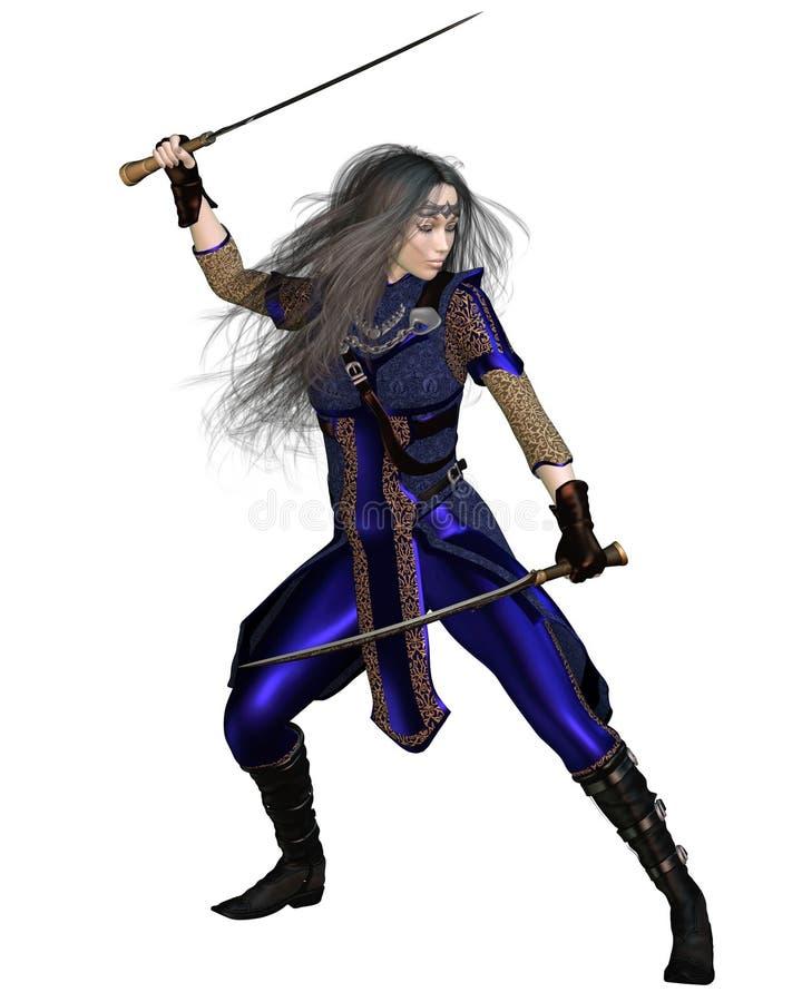 Het Vechten van de Prinses van de Strijder van de fantasie royalty-vrije illustratie