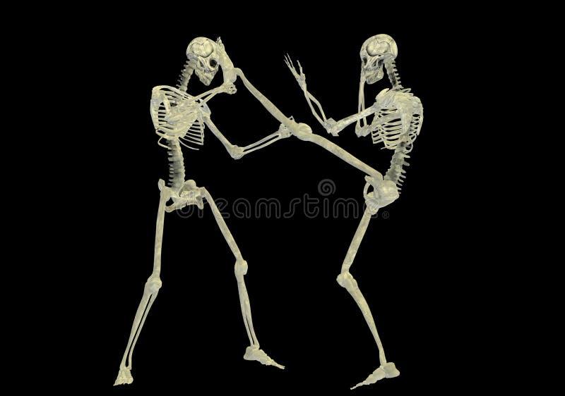 Het vechten van het skelet stock illustratie