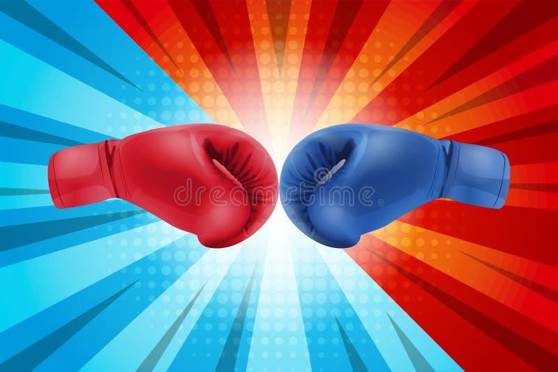 Het vechten voor grappige achtergrond Bokshandschoenenrood en Blauw die samen op grappige achtergrond raken royalty-vrije illustratie