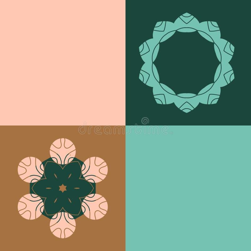 Het vector abstracte brons, bos, nam, groene muntpatroon met geometrische en bloem gestalte gegeven elementen toe Decoratief orna vector illustratie