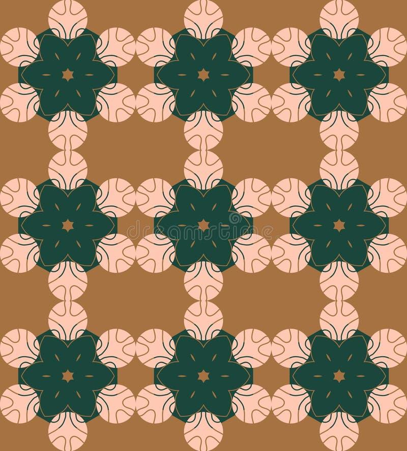 Het vector abstracte brons, bos, nam toe, groene munt naadloos met geometrische bloem gestalte gegeven elementen Decoratief manda royalty-vrije illustratie
