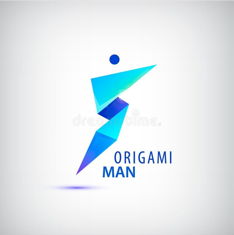 Het vector abstracte embleem van de origamimens, leider, winnaar, facetteerde geometrisch cijfer vector illustratie