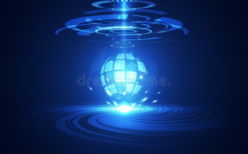 Het vector Abstracte futuristische globale systeem van de kringsraad, blauw de kleurenconcept van de Illustratie hoog digitaal te vector illustratie