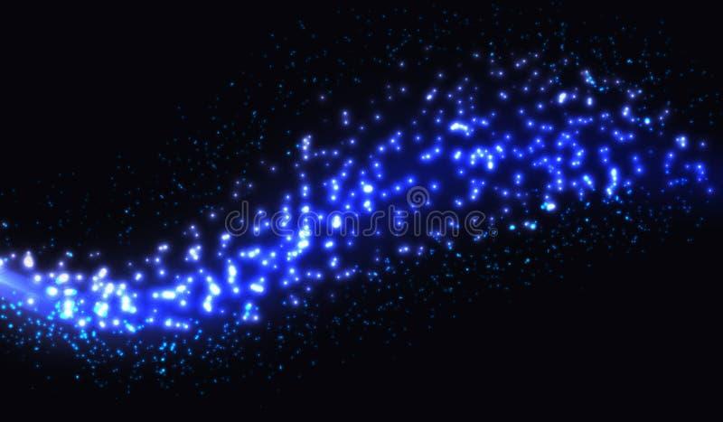 Het vector Abstracte glanzende blauwe de golfelement van het kleurenontwerp met schittert effect op een zwarte achtergrond vector illustratie