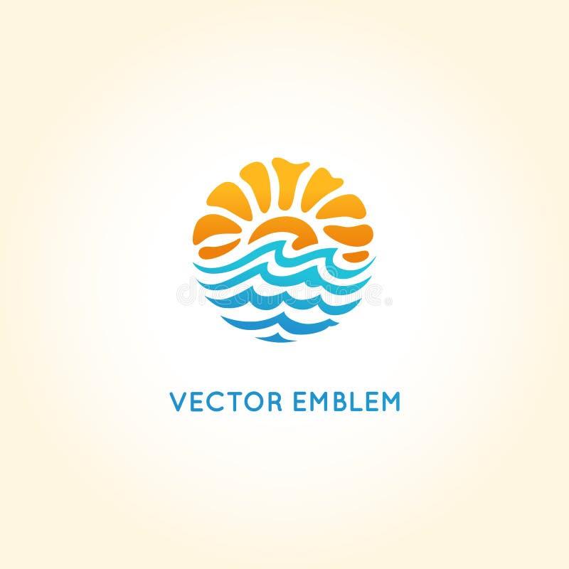 Het vector abstracte malplaatje van het embleemontwerp - zon en overzees vector illustratie