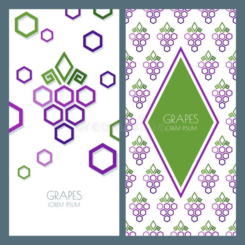 Het vector abstracte naadloze patroon en de achtergrond met geometrische vormwijnstok maakten van zeshoeken stock illustratie