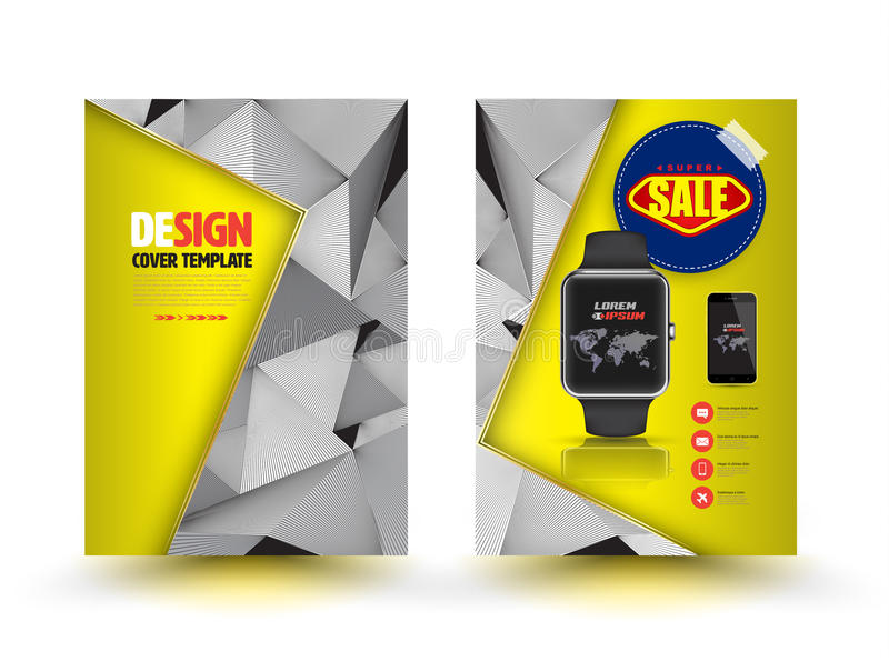 Het vector abstracte ontwerp van het brochuremalplaatje met slim horloge vector illustratie