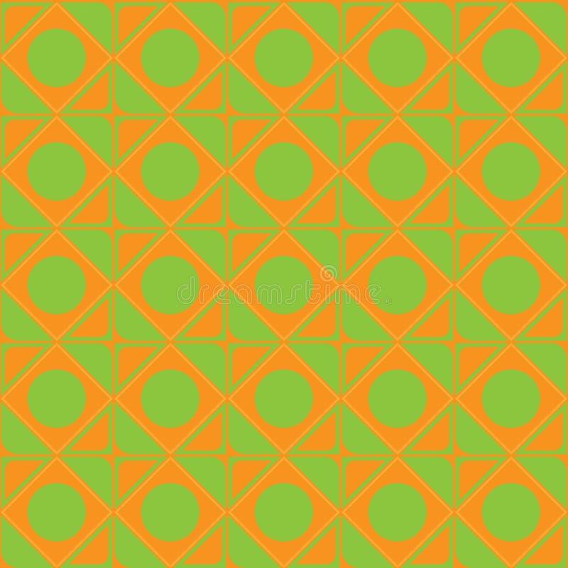 Het vector abstracte ornament van oranje, groene de vierkantencirkels van de schaduwen naadloze textuur van hoeken voor Web ontwe stock illustratie