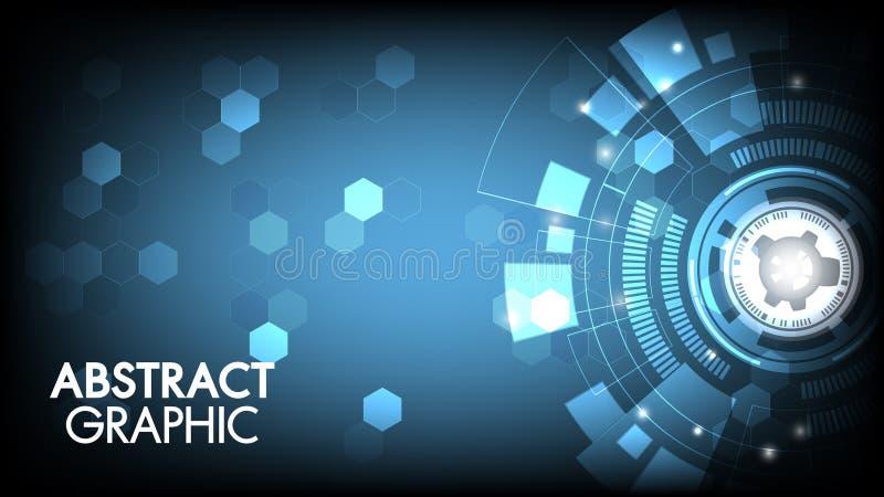 Het vector abstracte van de technologieinnovatie communicatie concept van de de kringsraad en met zeshoeken voor technologieachte vector illustratie
