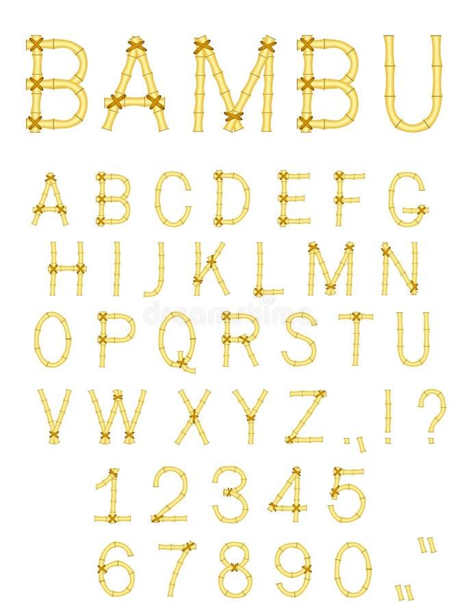 Het vector alfabet van de bamboestok abc royalty-vrije illustratie