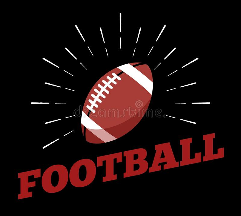 Het vector Amerikaanse van het de balembleem van de voetbalsport van de het pictogramzon art. van de de drukhand getrokken uitste royalty-vrije illustratie