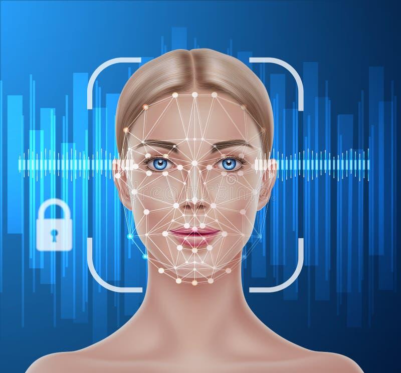 Het vector biometrische aftasten van de gezichtserkenning van meisje stock illustratie