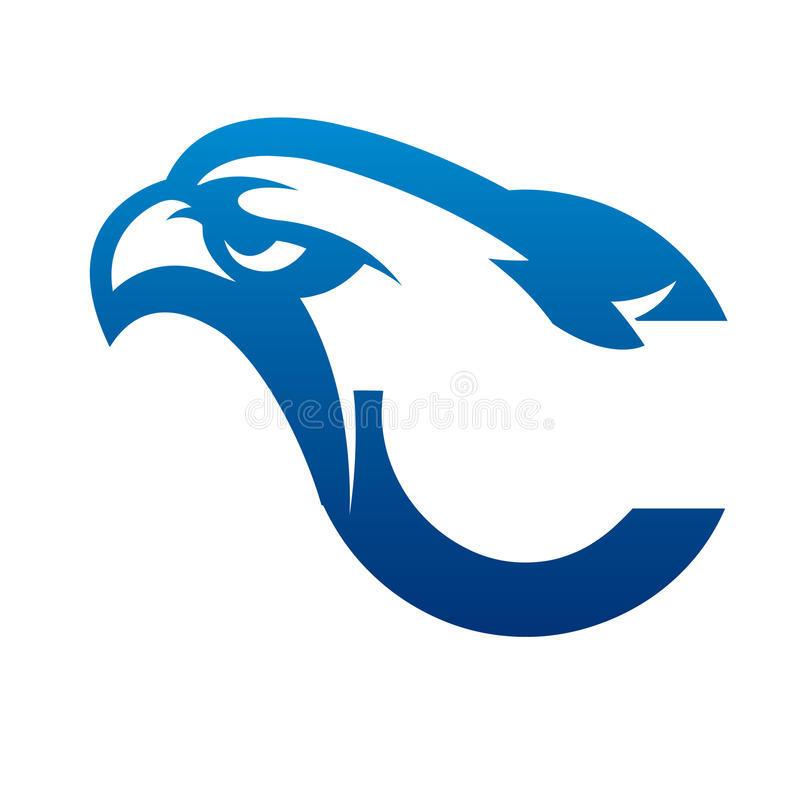 Het vector Blauwe Embleem van Eagle Initial C royalty-vrije stock foto's