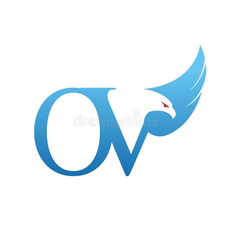 Het vector Blauwe Embleem van Hawk Initial OV royalty-vrije stock fotografie