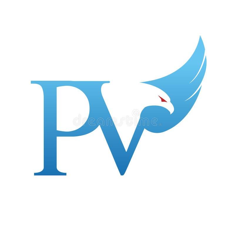 Het vector Blauwe Embleem van Hawk Initial PV royalty-vrije stock afbeeldingen