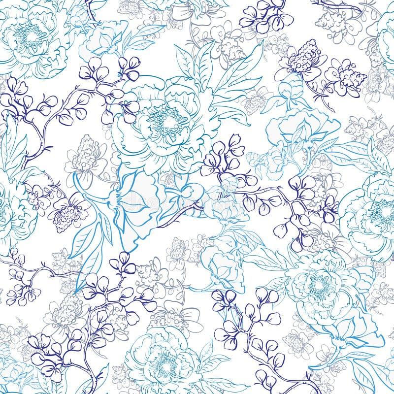 Het vector Blauwe Japanse Bloemenart. van de Kimonolijn stock illustratie