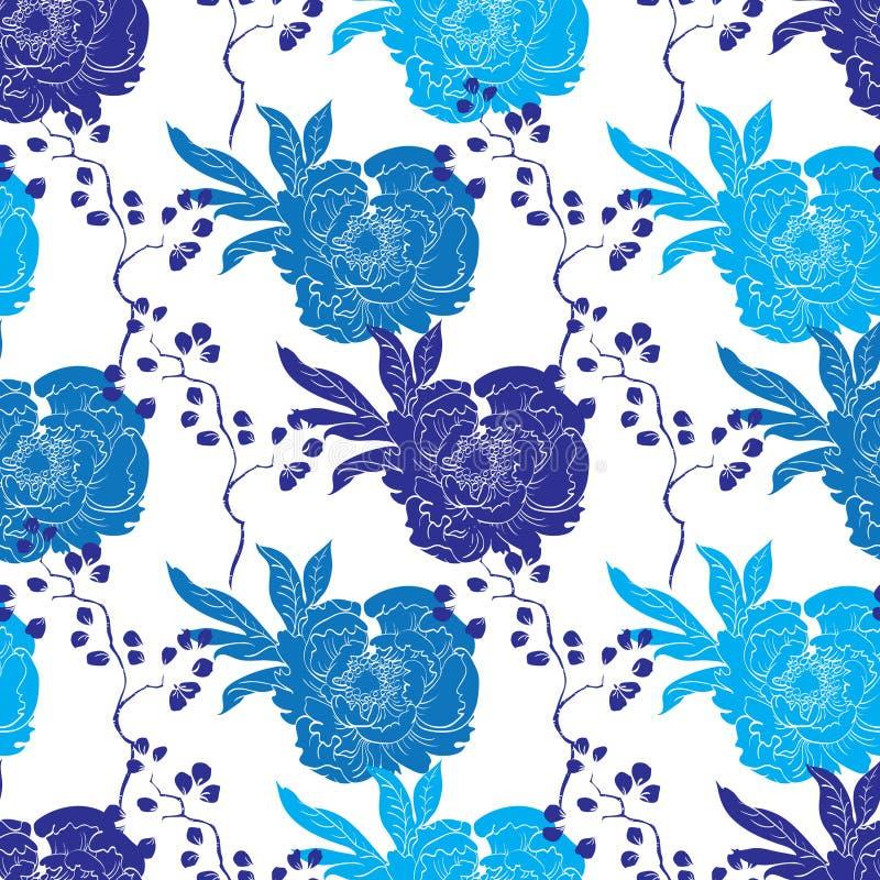 Het vector Blauwe Oosterse Naadloze Patroon van de Kimonopioen royalty-vrije illustratie
