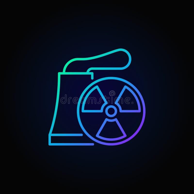 Het vector blauwe pictogram van de kernenergieinstallatie vector illustratie