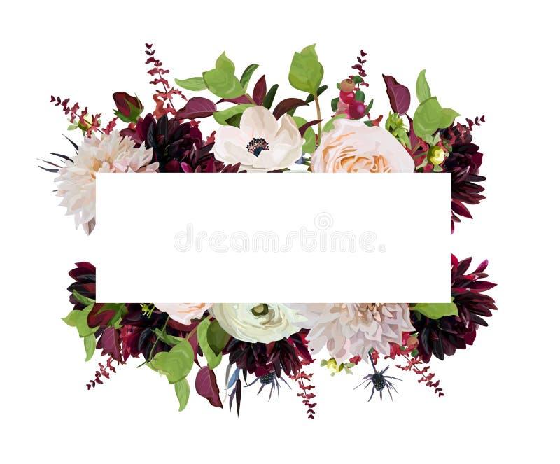 Het vector bloemen het ontwerproze van de ontwerpkaart nam de Dahlia van Bourgondië flowe toe royalty-vrije illustratie