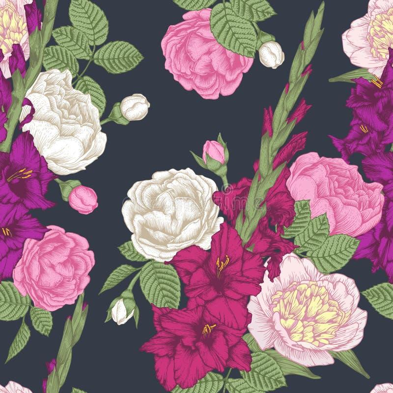 Het vector bloemen naadloze patroon met hand getrokken gladiolen bloeit, rozen en pioenen stock illustratie