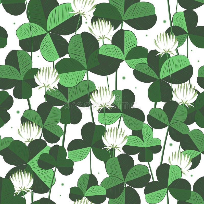 Het vector bloemen naadloze patroon met klaver gaat weg en bloeit De dagachtergrond van heilige patricks met klaver Ontwerp met stock illustratie