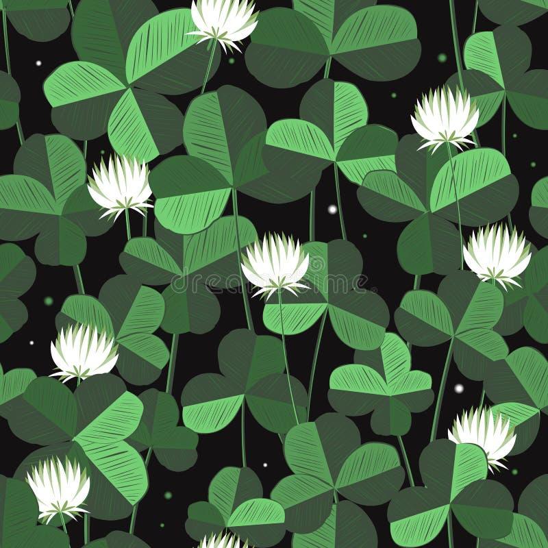 Het vector bloemen naadloze patroon met klaver gaat weg en bloeit De dagachtergrond van heilige patricks met klaver Ontwerp met k stock illustratie