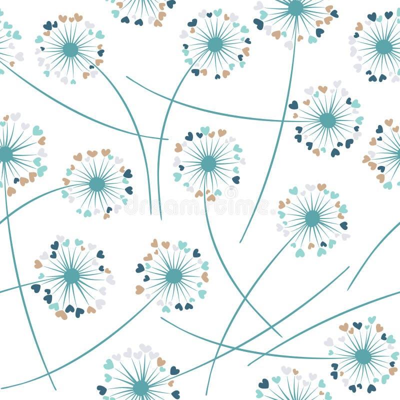 Het vector bloemen naadloze patroon van de paardebloem blazende installatie Bloemen met hart gevormde bloemblaadjes vector illustratie