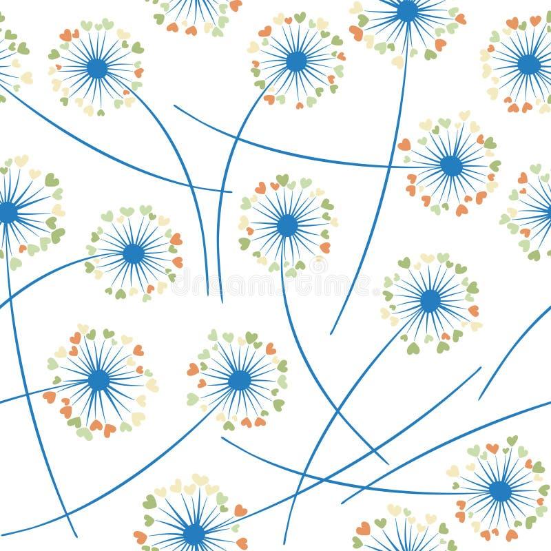 Het vector bloemen naadloze patroon van de paardebloem blazende installatie Bloemen met hart gevormde bloemblaadjes stock illustratie