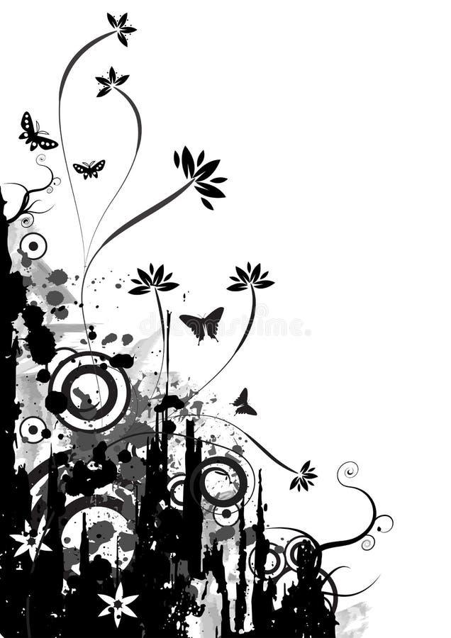 Het vector bloemenontwerp van Grunge stock illustratie