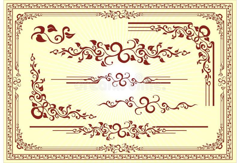 Het vector BloemenOrnament van het Frame vector illustratie