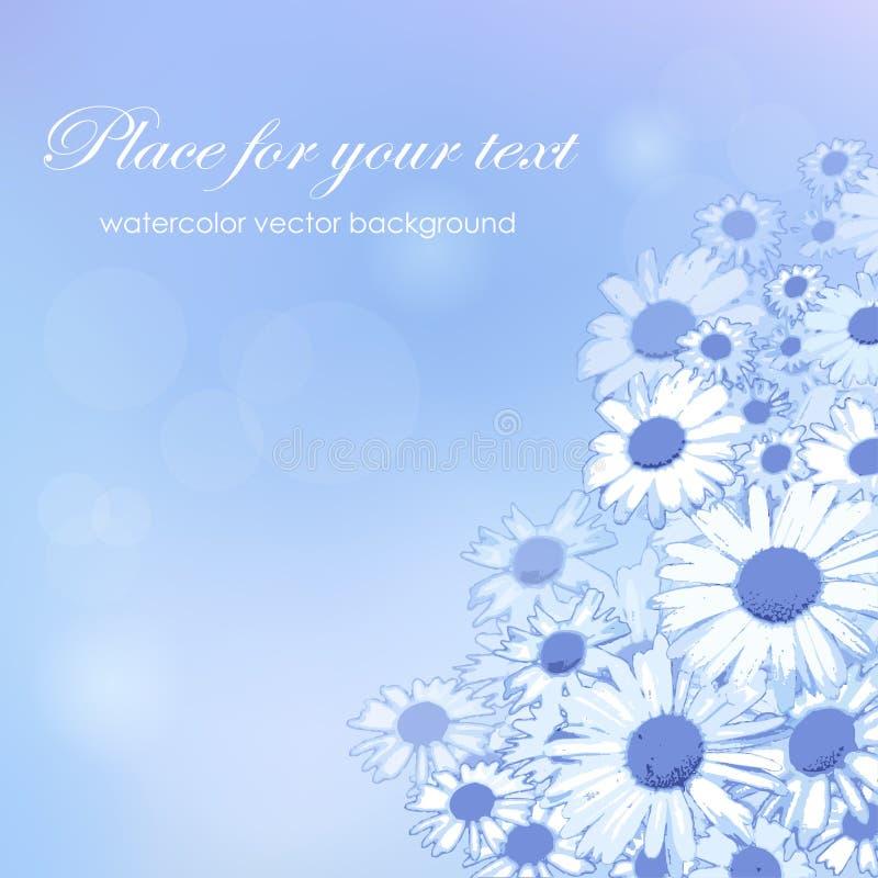 Het vector bloemenpatroon van de waterverftextuur met blauwe bloemen vector illustratie