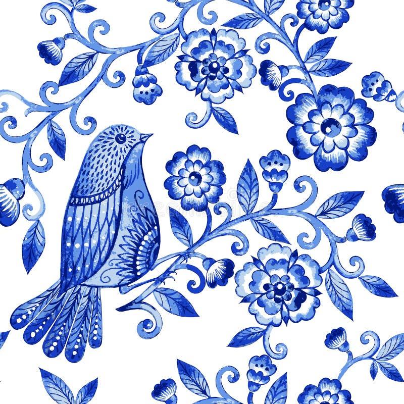 Het vector bloemenpatroon van de waterverftextuur met blauwe bloemen en vogels vector illustratie