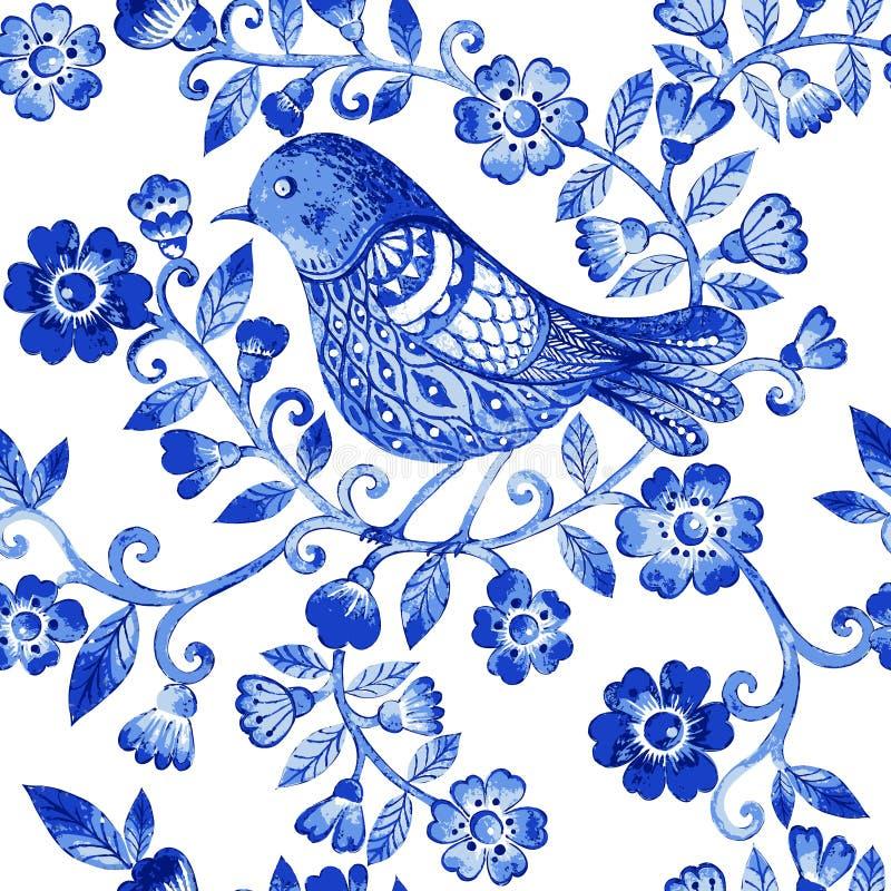 Het vector bloemenpatroon van de waterverftextuur met blauwe bloemen en vogels stock illustratie