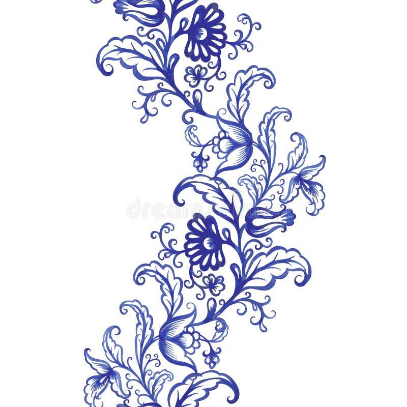 Het vector bloemenpatroon van de waterverftextuur met bloemen royalty-vrije illustratie