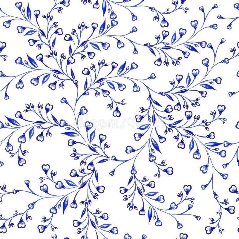 Het vector bloemenpatroon van de waterverftextuur met bloemen Waterverf bloemenpatroon stock illustratie
