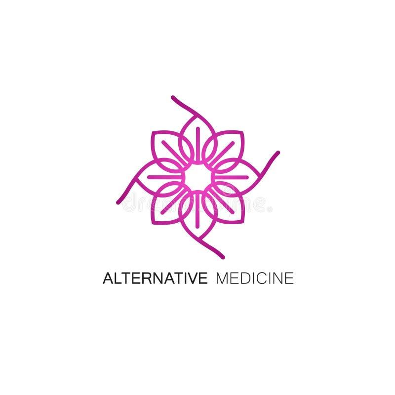 Het vector bloemenpictogram en het embleem ontwerpen malplaatje in overzichtsstijl - abstract monogram voor alternatieve geneesku royalty-vrije illustratie