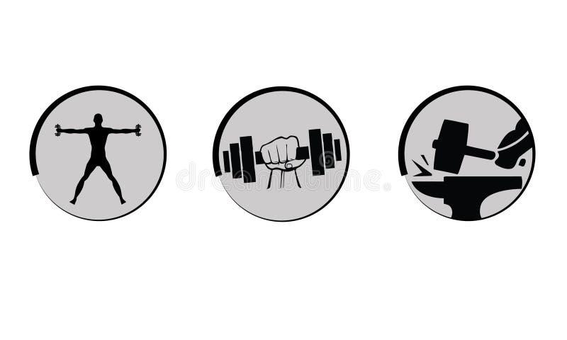 Het vector bodybuilding, geplaatste sterktepictogrammen. stock illustratie