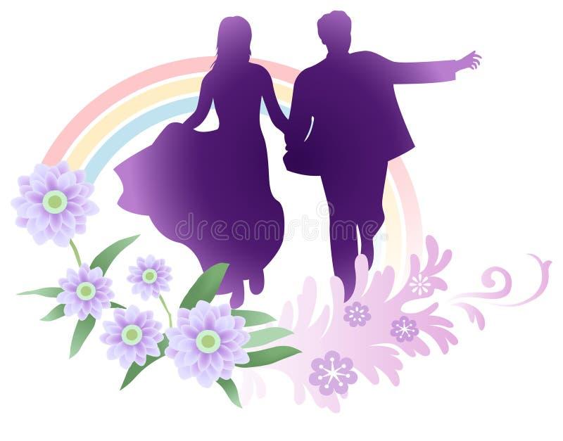 Het vector bruid en bruidegom lopen vector illustratie
