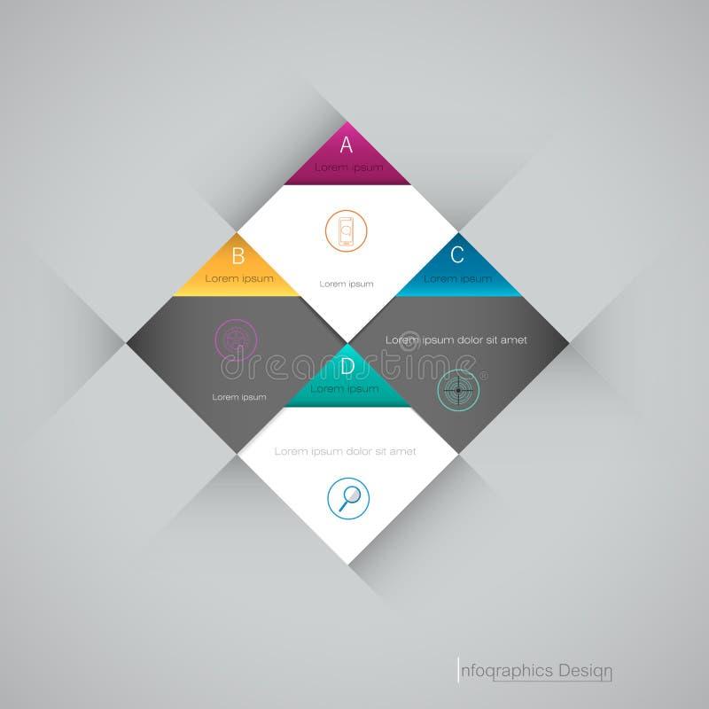 Het vector 3d geometrische etiket van Infographic, malplaatjeontwerp Bedrijfsconcept, Infograph met 4 aantallenopties royalty-vrije illustratie
