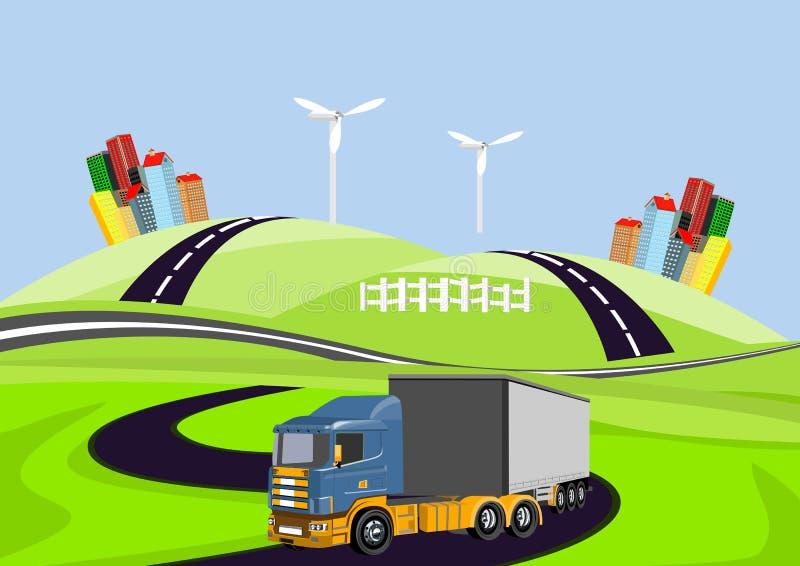 Het vector 3d vrachtwagen automoble drijven op weg, platteland vector illustratie