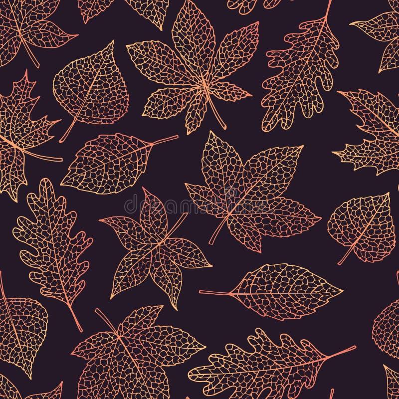 Het vector de herfst naadloze patroon met eik, populier, beuk, esdoorn, esp en paardekastanjebladeren schetst op donkere achtergr vector illustratie