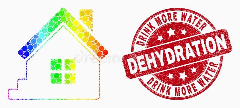 Het vector de het Huispictogram en Nood van Spectrumpixelated drinken Meer Verbinding van de Waterdehydratie stock illustratie