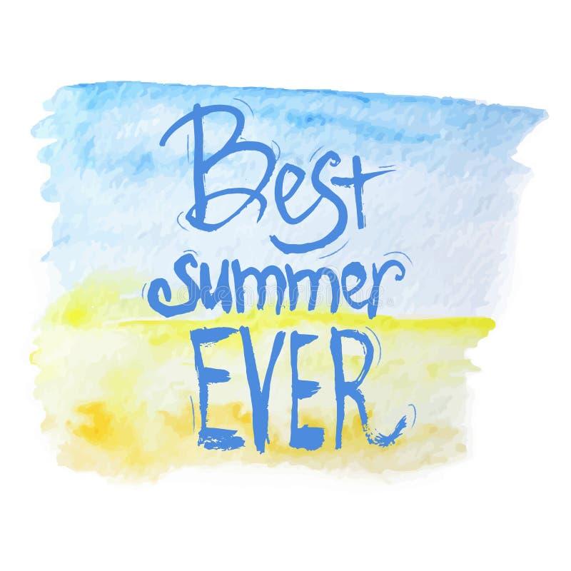 Het vector de waterverf beste zomer van letters voorzien op blauw royalty-vrije illustratie