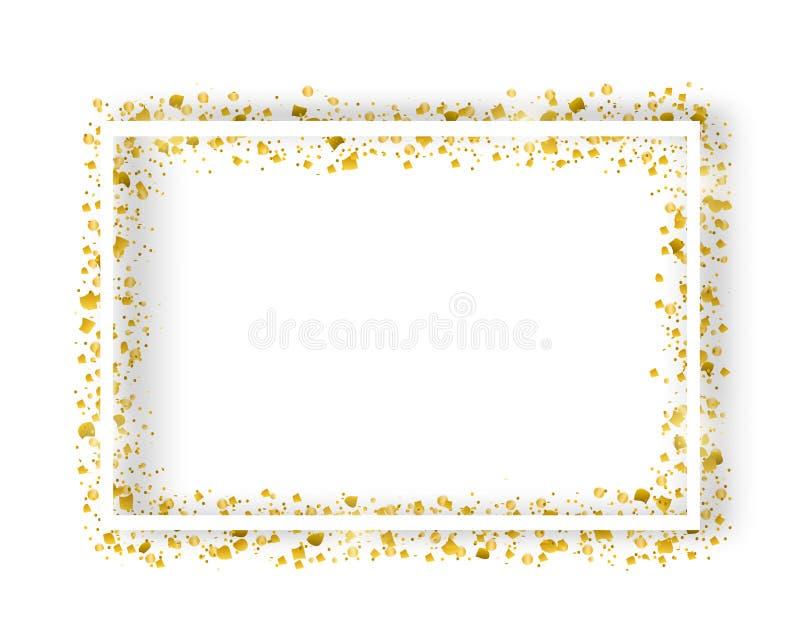 Het vector decoratieve vierkante kader met schittert klatergoud van confettien Gloeiende feestelijke grens met glanzende fonkelin stock illustratie