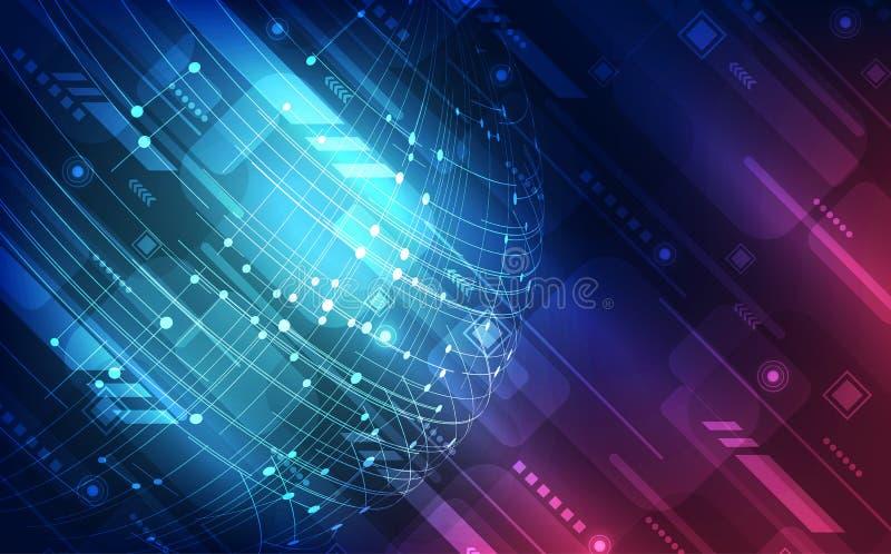 Het vector digitale concept van de hoge snelheids globale technologie, abstracte achtergrond vector illustratie