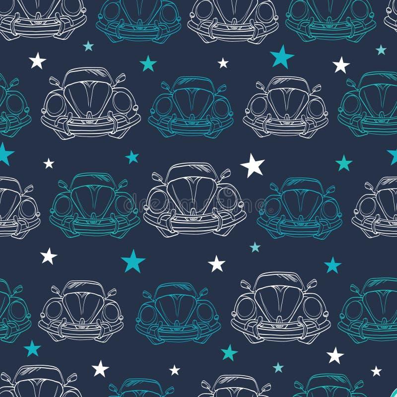 Het vector Donkerblauwe Uitstekende Auto'ssterren Trekken vector illustratie